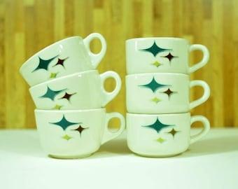 Mid Century Modern Atomic Syracuse China Trend Jubilee Starlite Diner Restaurantware Coffee Mugs: Set of 6
