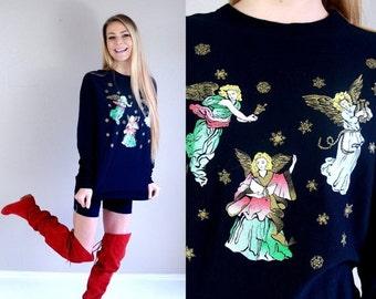 Half Off vtg 80s black FLYING ANGELS ugly Christmas sweater SWEATSHIRT os metallic jumper snowflakes kitschy novelty print oversized top gol