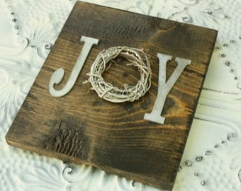 Rustic Wood JOY sign Holiday sign