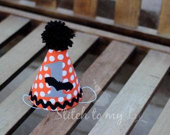 First Birthday Hat Halloween Bat Orange and Black First Birthday Party 1st Birthday Outfit Little Man