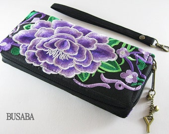 Personalized Monogramed Wallet, Flower Embroidered Zippered Wallet, Colorful Hmong Tribal Long Wallet
