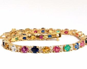 11.20ct natural ruby emerald sapphires diamond tennis bracelet 14kt vivid colors