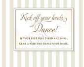 Kick Off Your Heels and Dance! Printable Sign 5x7, Sandals Sign, Printable Wedding Signage, Party Sign, Peach and Brown Floral Sign