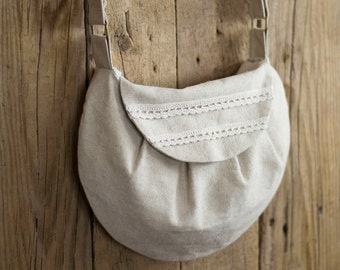 Linen and Lace Cross Body Bag, Linen and Cotton Natural Bag, Cottage Chic Accessories, French Country Purse