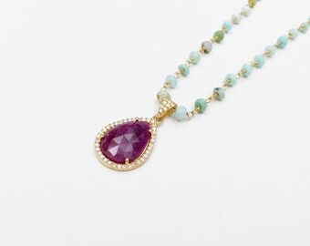 African Opal Beaded Chain and Bezelled Pink Sapphire and White Topaz Pave Bead Necklace