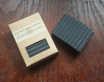 TEA TREE and CHARCOAL- Handmade cold process soap made with activated charcoal and tea tree essential oil