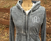 Monogrammed Vintage Jacket ~ Acid Washed Monogrammed Jacket ~ Vintage Monogrammed Zip up Jacket ~ Monogrammed Burnout Hoodie