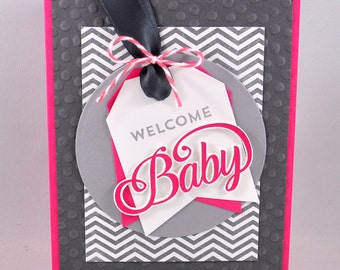 Baby Greeting Card, Baby Girl, Grey, Gray, Pink, Polka Dots, Chevron, Welcome Baby, Baby Shower, New Baby, Stamped, Handmade