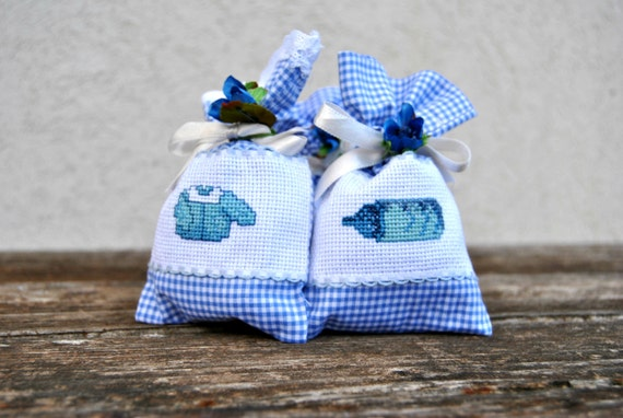 Gift Favorbag Thank you linen bag for Baby shower Christening or Baptism Candy buffet  bomboniere for boy