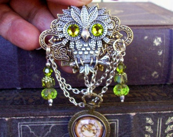 Steampunk Owl Brooch (P600) - Faux Brass Pocket Watch Pendant - Crystal Dangles and Silver Chain - Pin