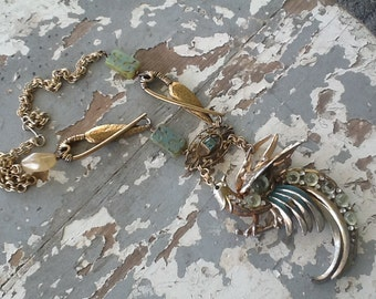 Bold Chunky Necklace Bird Necklace Assemblage Rhinestone  Recycled Upcycled