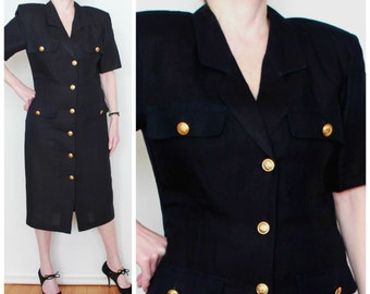Retro black linen & rayon military fashion dress / Ann Tjian for Kenar 1980s designer gold buttons shirtdress  / womens career nautical