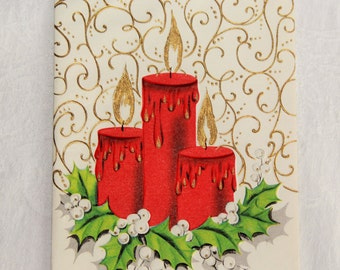 Gold embossed mid century Christmas card / elegant fancy candle & flame / 1950s retro holiday paper ephemera / unused with envelope