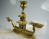 Chinese Dragon Solid Brass Candlestick / Candle Holder / Rare Vintage Collectible / Signed