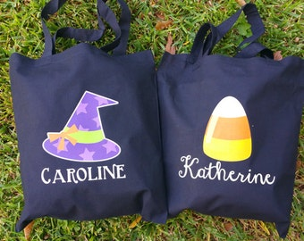 Personalized Halloween Witch Hat, Candy Corn, Ghosts Trick or Treat Bag, Tote, Candy Bag