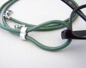 Teal Eyeglass Lanyard, Leather Cord Eyeglasses Loop, 28-36 inchs, Eyeglasses Holder, Eyeglass Necklace, Eyeglass Chain,
