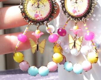 Eiffel Tower Butterflies Resin Earrings - Colorful - Paris - Japanese Flowers - Gift Ideas - For Her - Summer Trends - Handmade - Pink
