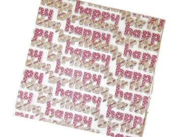 Vintage Wrapping Paper - Birthday Font Happy Birthday - Partial Sheet Gift Wrap