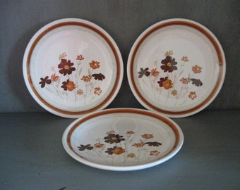 USA vintage china earth toned wildflower design brown gold caramel rust