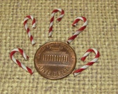 Dollhouse miniature candy canes Christmas 5pcs Holiday mini decoden craft tiny kawaii supplies ribbon wrapped wire red & white stri