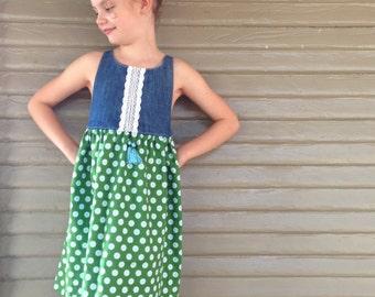 Green & Denim Amelia Dress - Handmade w/Embroidery and Tassels