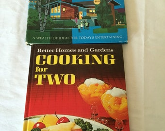 Set of 2 Cookbooks: 1968 Better Homes and Gardens Cooking for Two, 1967 Betty Crocker's Hostess Cookbook