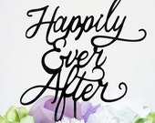 Happily Ever After Silhouette Wedding Cake Topper Pick - High Gloss Black Finish