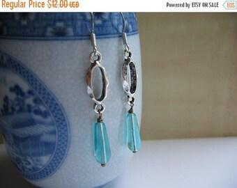 Clearance Aqua Blue Earrings - Antiqued Silver Oval Link and Aqua Blue Teardrop Earrings - Aqua Blue Czech Glass Earrings