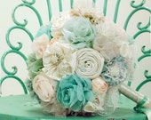 Ready to ship Mint ivory bridal bouquet, fabric wedding bouquet, turquoise bouquet