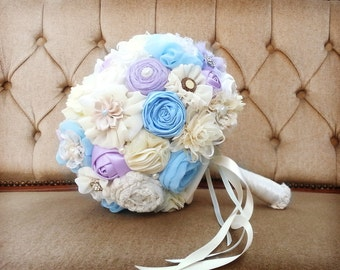 Bridal bouquet, blue wedding bouquet, Lila bridal bouquet, fabric flowers