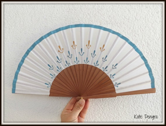 Smooth Pear Wood with Blue and Caramel Hand Painted Handheld Folding Fan Wood Fabric Flamenco Spanish Designed by Kate Dengra Spain
