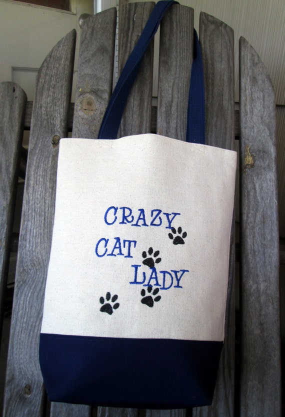 Crazy cat lady funny quote bag embroidered market tote