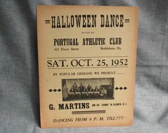 Vintage Halloween Dance Poster Bethlehem, Pa October 1952