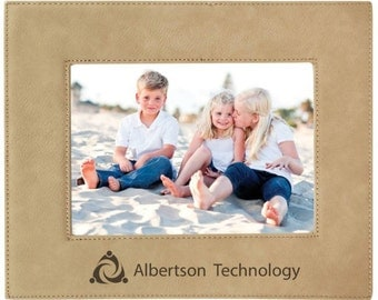 """Personalized 5""""x7"""" Leatherette Picture Frame - Engraved Leatherette Wedding Frame - Custom Engraved Faux Leather Frame"""