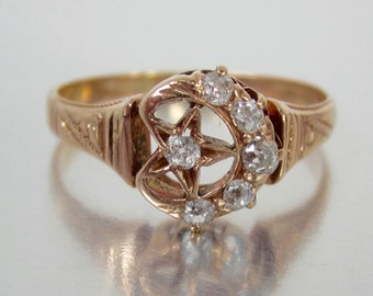 ON HOLD- Antique Victorian Crescent Moon and Star Old Mine Diamond Engagement Ring 14K