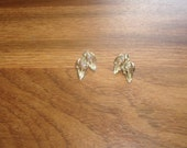 vintage clip on earrings goldtone rhinestones
