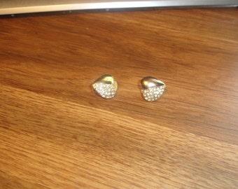 vintage clip on earrings goldtone rhinestones