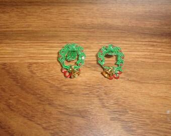 vintage clip on earrings metal christmas wreath bell