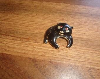 vintage pin brooch black enamel panda bear rhinestones