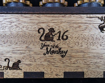 Year of the Monkey Puzzle Box 2016 limited edition mahogany with free custom laser engraving