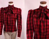 Vintage 80s - Red & Black Plaid Taffeta - Victorian Style - High Collar Bow Ascot Tie - Button Up p Puufy Sleeve - Top Blouse