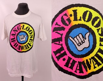 Vintage  - 80s/90s - Neon - Hang Loose Hand - Surfer - Hawaii - Novelty Souvenir - White T Shirt