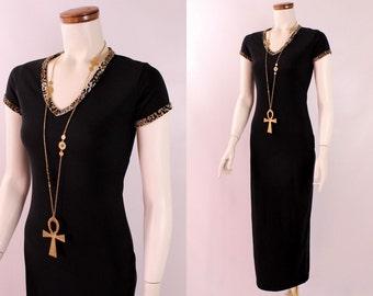 Vintage - 90s - Black Ribbed - Fuzzy Leopard Print V Neck Collar - Stretch Long Maxi Wiggle Dress - Goth Club Kid