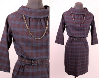 Vintage 60s - Brown & Blue Plaid Wool Folded Cowl Neck Collar Quarter Length Sleeves - Wiggle Fitted Short Dress w/ Belt - Mod Fall Autumn