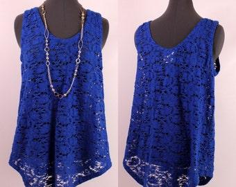 Vintage 90s - Royal Blue - See Through - Crochet Knit Floral Lace - Jumper Tent Tank Top Blouse M/L