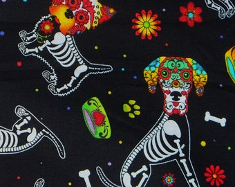 Day of the Dead Pup Fabric,  Timeless Treasures, Day of the Dead, Dogs Skeletons, Paw Prints, Dog Bones, By the Yard, Cotton Fabric