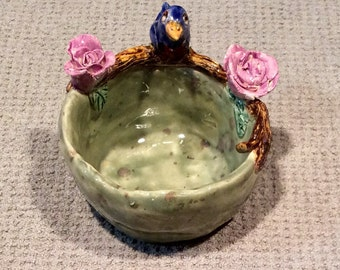 Little Bird and rose bowl handmade in US from a lump of clay