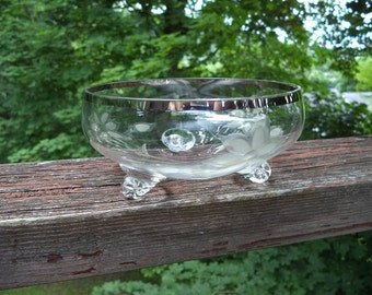 Vintage Seamless Crystal Footed Finger Bowl with Sterling Rim