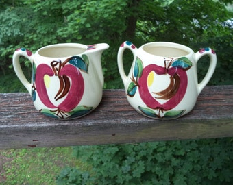 Signed Hand-Painted Purinton Slip Ware Sugar Bowl and Creamer in 1940s Apple Design