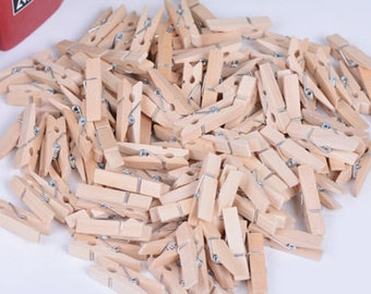 "Mini Wood Clothespins-Natural-1""-25 PCS."